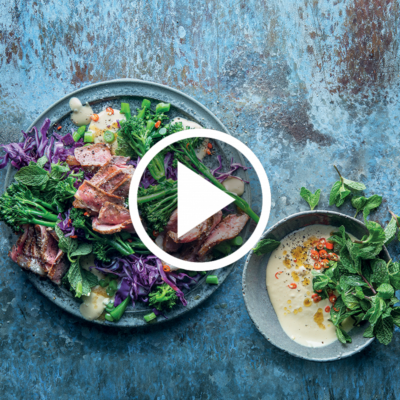 Watch: Carb-conscious steak salad with peanut butter dressing