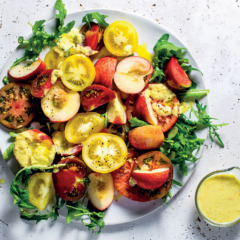 Tomato-and-peach salad with yellow tomato vinaigrette