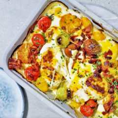 Easy, cheesy potato rösti bake