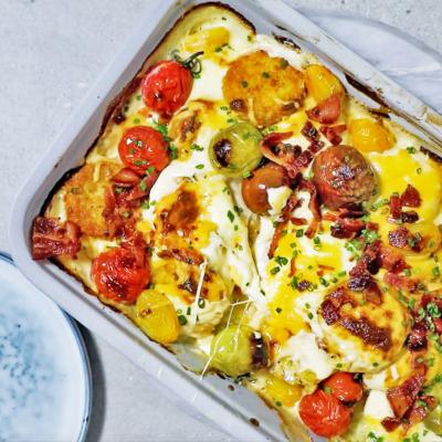 Easy, cheesy potato rösti bake