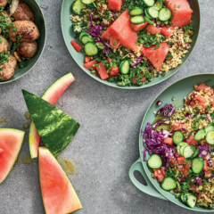 Watermelon, red cabbage and herb tabbouleh with pork meatballs