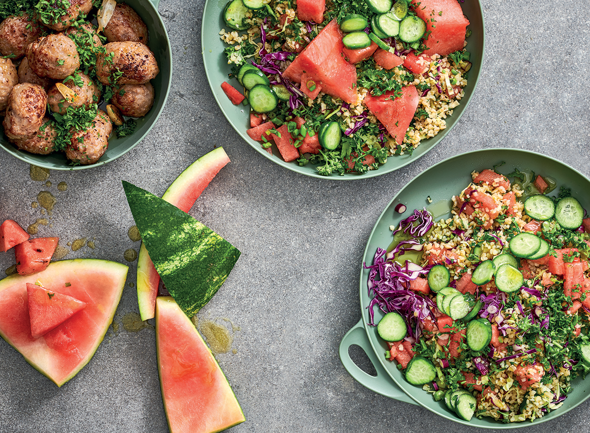 watermelon red cabbage and herb tabbouleh with pork meatballs