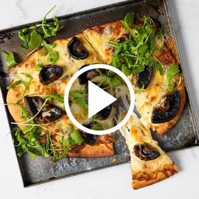 Watch: Double-cheese and mushroom pizza