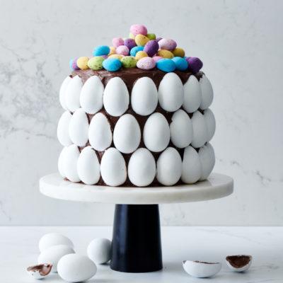 Easter-egg studded cake