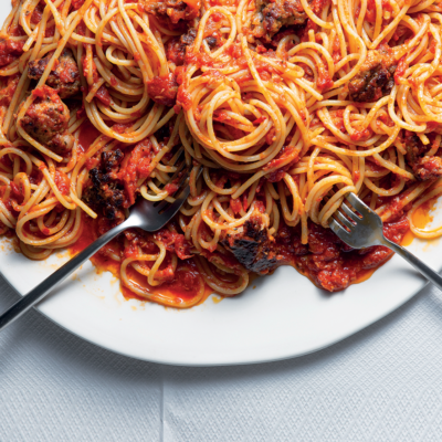 Easy, butter-roasted tomato-and-sausage spaghetti