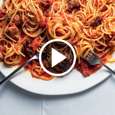 Watch: Easy, butter-roasted tomato-and-sausage spaghetti