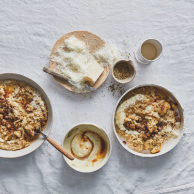 Baked leek-and-cauliflower risotto