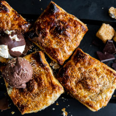 Caramelised pear, marshmallow and chocolate braai pie