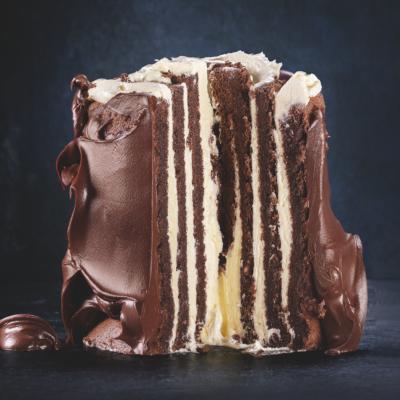 Gluten-free chocolate striped Swiss roll cake