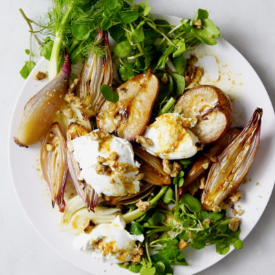 Caramelised pear and shallot salad