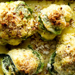 Whole roasted cauliflower with 3-cheese sauce