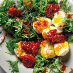 Crispy twice-cooked eggs with sambal oelek and herb salad