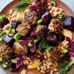 Duck frikkadels with hummus, beetroot and haricot beans