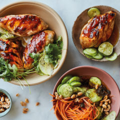 Grilled sweet chilli chicken with apple, cucumber and peanut salad
