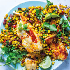 Harissa hake with corn and beans
