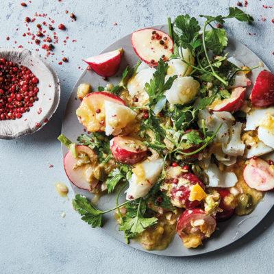 Salted hake, radish and caper mayo salad