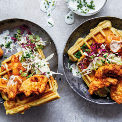 Ultimate buttermilk KFC chicken with amasi slaw waffles