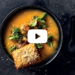 Asian butternut and chicken soup with prawn toast