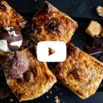 Caramelised pear marshmallow and chocolate braai pie copy
