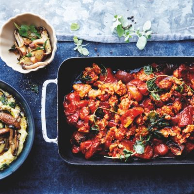 Oven-roasted chicken bolognese with big-batch polenta