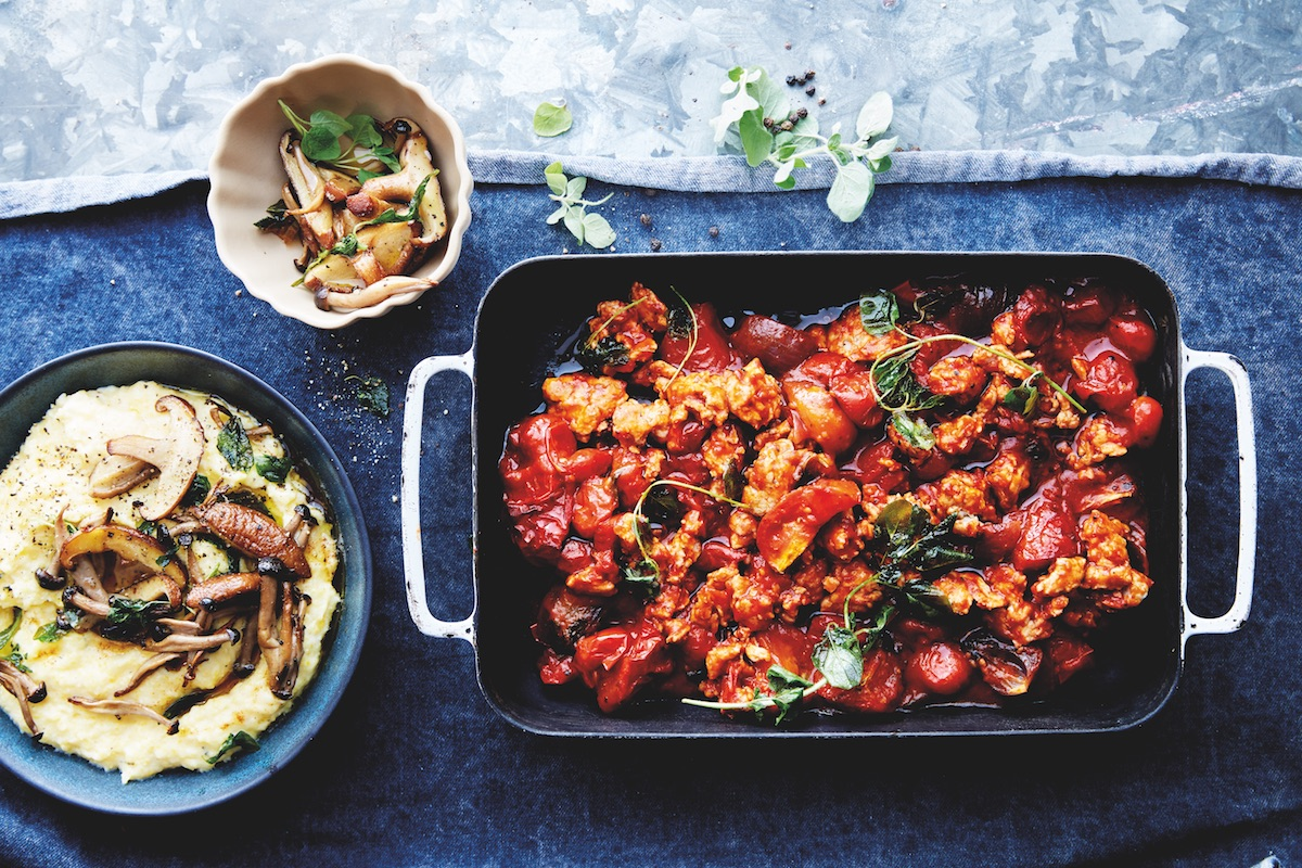 oven roasted chicken bolognese with big batch polenta