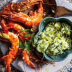 Roast prawns with baby leek and dill pilau
