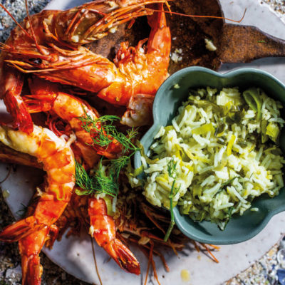 Roast prawns with baby leek-and-dill pilau