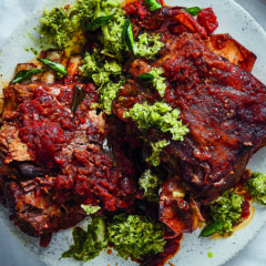 Roast rogan josh lamb shoulder with pineapple salsa