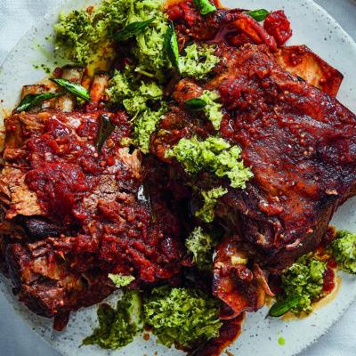 Roast rogan josh lamb shoulder with pineapple salsa
