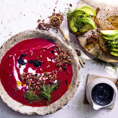 Beetroot soup with avocado toast