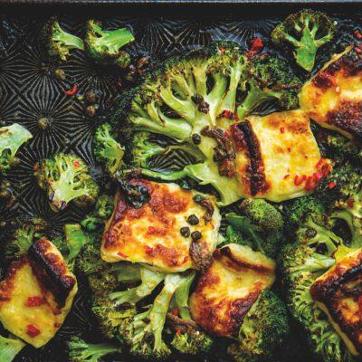 Charred broccoli and halloumi with warm anchovy vinaigrette