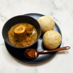 Bone marrow soup with mini dombolo