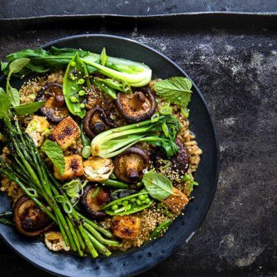 Miso barley risotto with charred tofu and greens