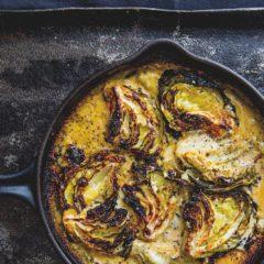 Three-cheese cabbage bake