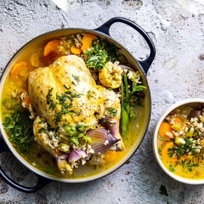 Whole poached chicken soup
