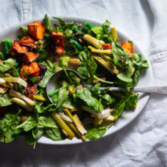 Butternut and baby spinach with warm winter dressing