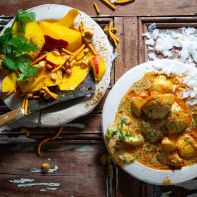 Butter chicken with mango salsa