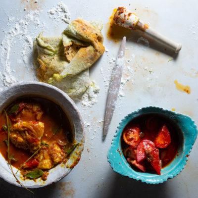 Hake masala with pea paratha