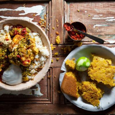 Paneer, dahl, cauliflower and turmeric bread
