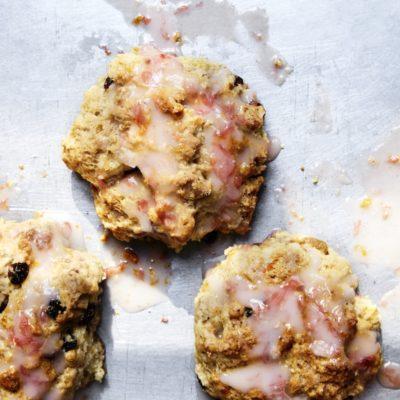 Rock buns with pink grapefruit icing