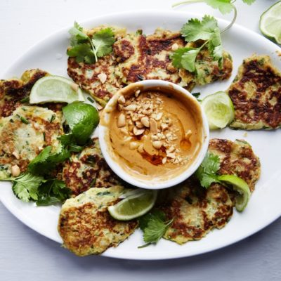 Sweet potato fritters with spicy peanut sauce