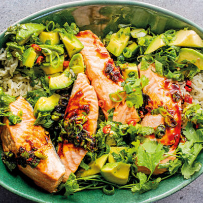 Asian-style salmon with avocado-and-coriander salsa