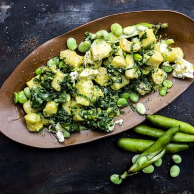 Creamy spinach-and-broad bean gnocchi