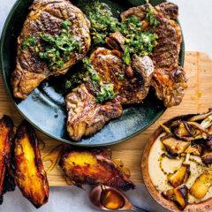Braaied rib-eye with salsa verde, wild mushroom sauce and double-baked sweet potatoes