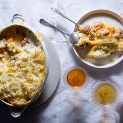 Creamy haddock-and-bacon pie