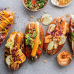 hot dogs with all the toppings