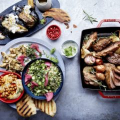 Roast lamb with Middle Eastern tapas