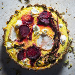 Broccoli quiche with roast beetroot and goat's cheese