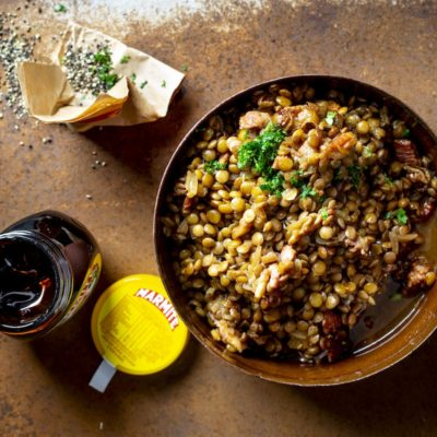 Baked lentils with bacon and Marmite