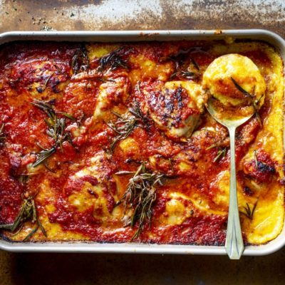 Chicken and polenta traybake